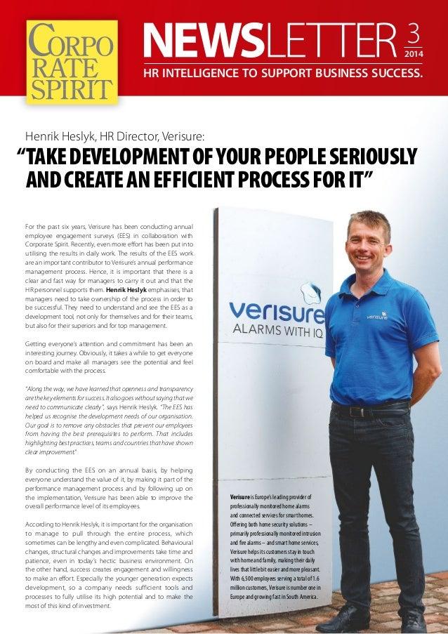 "HR INTELLIGENCE TO SUPPORT BUSINESS SUCCESS.  Henrik Heslyk, HR Director, Verisure:  ""TAKE DEVELOPMENT OF YOUR PEOPLE SERI..."
