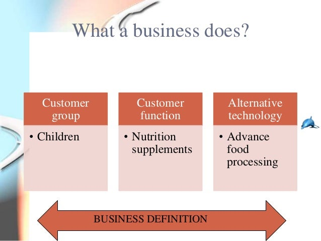 What a business does?  Customer          Customer        Alternative   group            function        technology• Childr...