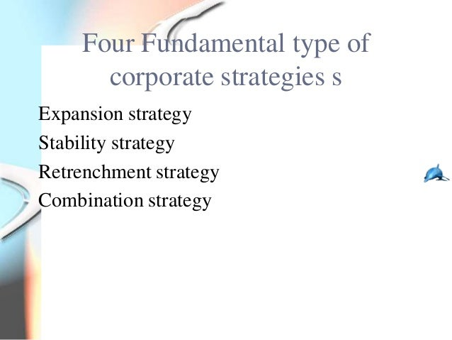 Four Fundamental type of       corporate strategies sExpansion strategyStability strategyRetrenchment strategyCombination ...