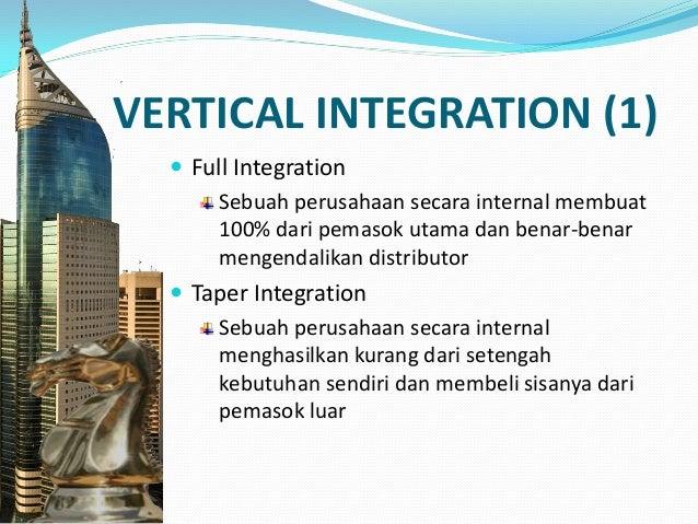 VERTICAL INTEGRATION (2)  Quasi-Integration Perusahaan tidak membuat sendiri pasokan utamanya nya tetapi membeli sebagian...