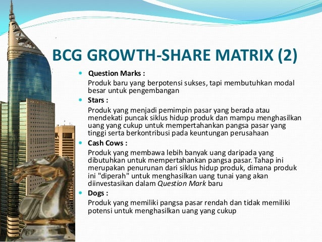KETERBATASAN BCG GROWTH-SHARE MATRIX  Penggunaan high dan low dalam 4 kategori terlalu sederhana  Hubungan antara market...