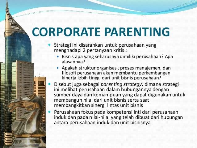 MENGEMBANGKAN STRATEGI CORPORATE PARENTING 3 langkah mencari strategi perusahaan yang tepat :  Memeriksa faktor–faktor st...