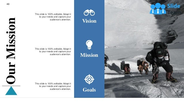 40 Vision Mission Goals This slide is 100% editable. Adapt it to your needs and capture your audience's attention. This sl...