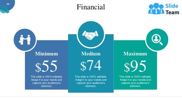 Financial This slide is 100% editable. Adapt it to your needs and capture your audience's attention. Maximum $95 This slid...