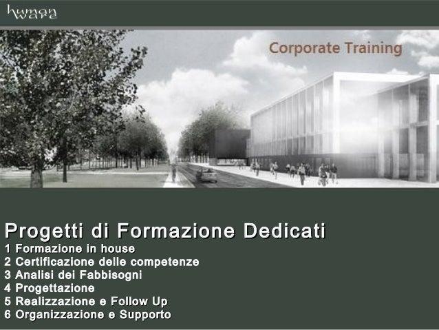 Progetti di Formazione Dedicati1   Formazione in house2   Certificazione delle competenze3   Analisi dei Fabbisogni4   Pro...