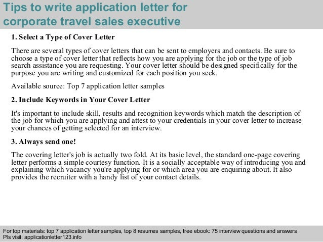 Corporate travel sales executive application letter