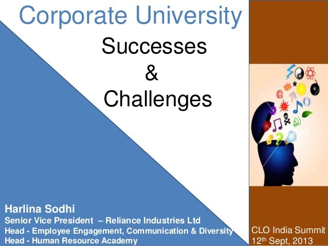 Corporate University Successes & Challenges CLO India Summit 12th Sept, 2013 Harlina Sodhi Senior Vice President – Relianc...