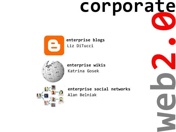 corporate                                  eb2.0 enterprise blogs Liz DiTucci    enterprise wikis Katrina Gosek    enterpr...