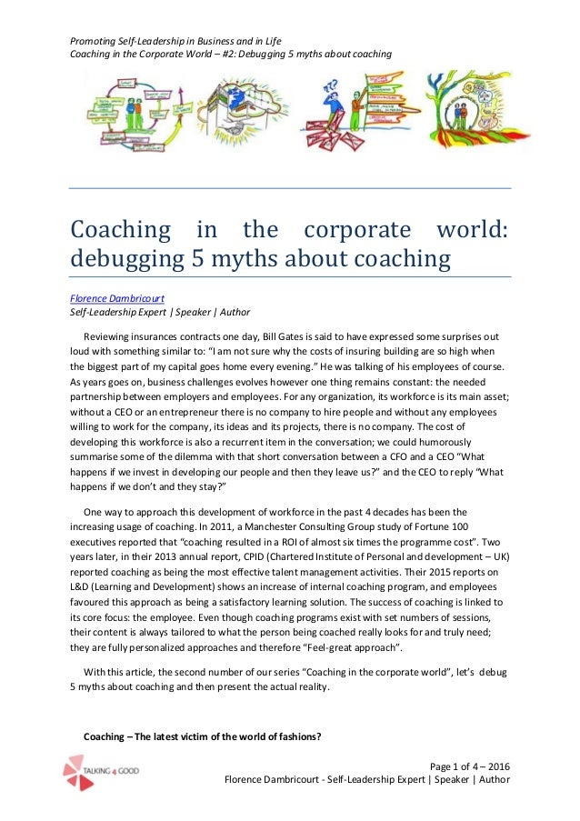 Promoting Self-Leadership in Business and in Life Coaching in the Corporate World – #2: Debugging 5 myths about coaching P...