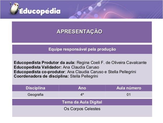 APRESENTAÇÃO Equipe responsável pela produção Educopedista Produtor da aula: Regina Coeli F. de Oliveira Cavalcante Educop...