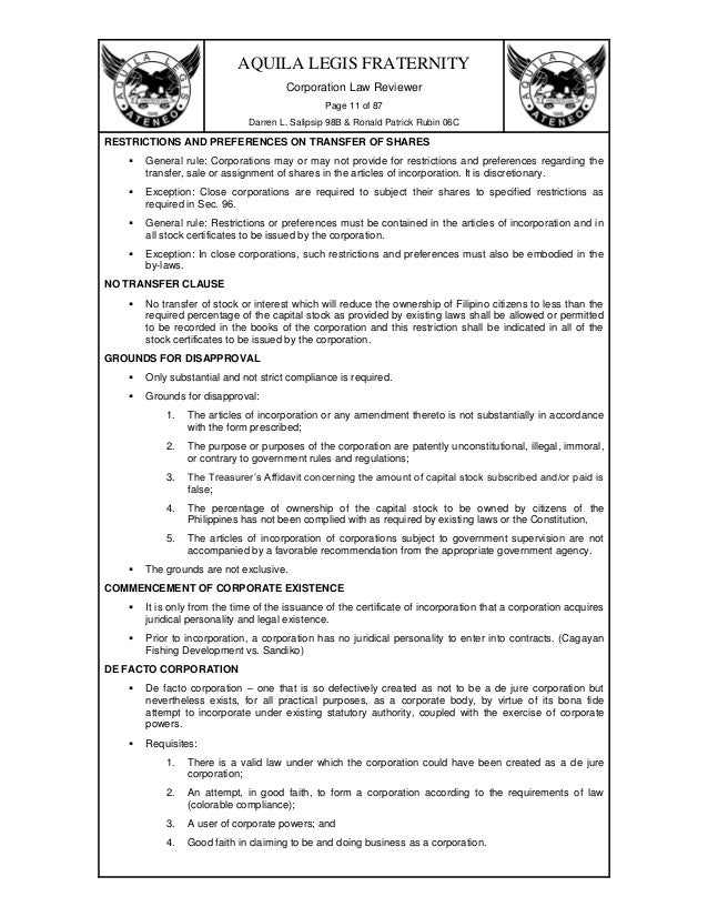 "corporation code of the philippines The corporation code of the philippines sets out the general rules governing all corporations in the country the code defines a corporation as ""an artificial being created by operation of law, having the right of succession and the powers, attributes and properties expressly authorized by law or incident to its existence""."