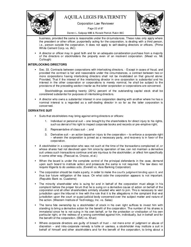 corporation code of the phils exercises Corporation code(philippines) 1 modern corporation 2 corporations have ceased to be merely legal devices through which the private business transactions of individuals may be carried on the corporation become both a method of property.
