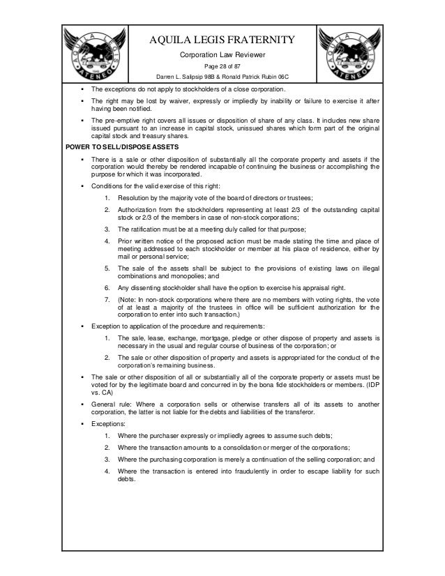Corporation Code of the Phils.- Exercises