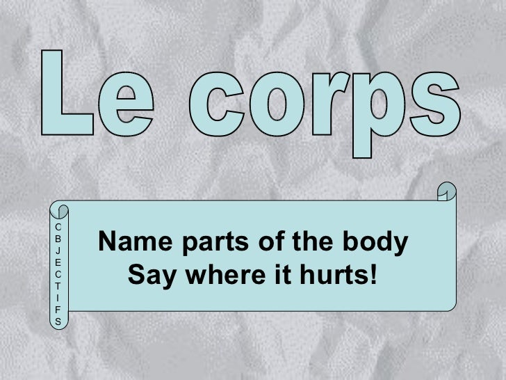 Le corps Name parts of the body Say where it hurts! OBJECTIFS