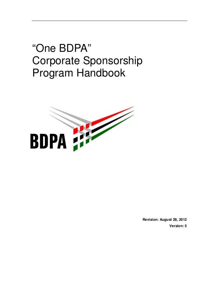 """One BDPA""Corporate SponsorshipProgram Handbook                    Revision: August 28, 2012                              ..."