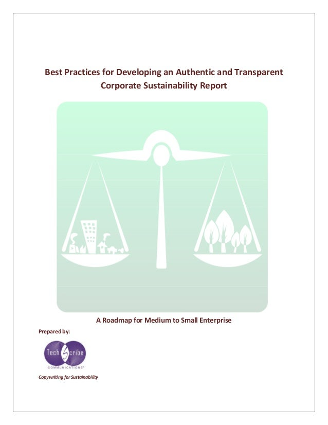 Best Practices for Developing an Authentic and Transparent Corporate Sustainability Report A Roadmap for Medium to Small E...