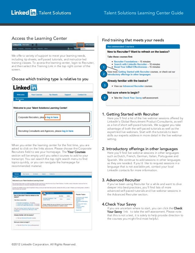 Talent Solutions                                  Talent Solutions Learning Center GuideAccess the Learning Center        ...