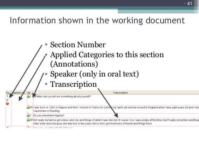 41  Information shown in the working document • Section Number • Applied Categories to this section (Annotations) • Speak...