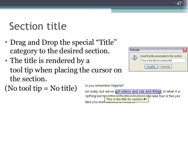 """47  Section title • Drag and Drop the special """"Title"""" category to the desired section. • The title is rendered by a tool ..."""