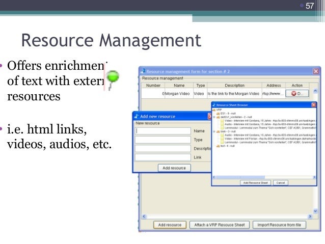 57  Resource Management  • Offers enrichment of text with external resources  • i.e. html links, videos, audios, etc.