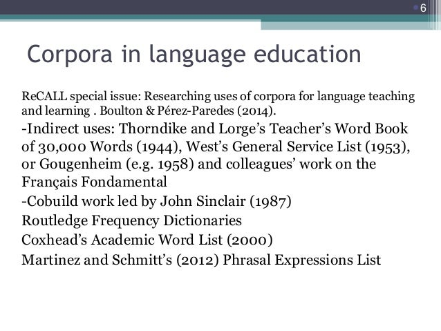 6  Corpora in language education ReCALL special issue: Researching uses of corpora for language teaching and learning . B...