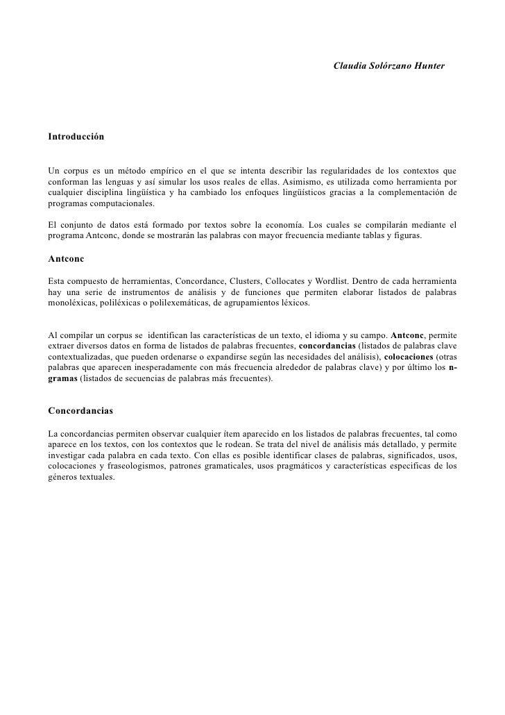 Claudia Solórzano HunterIntroducciónUn corpus es un método empírico en el que se intenta describir las regularidades de lo...