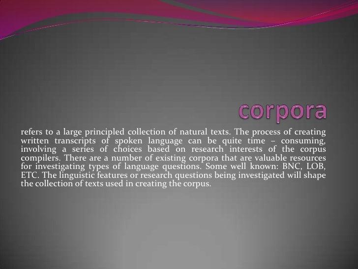 Corpus linguistics Slide 3