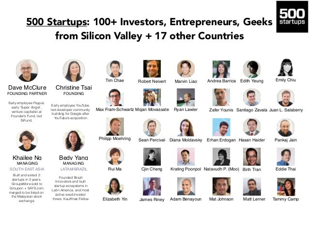 "500 Startups: 100+ Investors, Entrepreneurs, Geeks from Silicon Valley + 17 other Countries The title ""Partner"" is used in..."