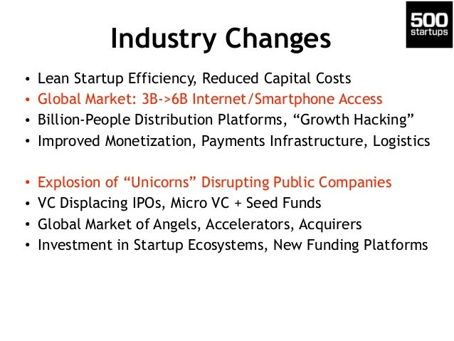 Industry Changes • Lean Startup Efficiency, Reduced Capital Costs • Global Market: 3B->6B Internet/Smartphone Access • Bil...