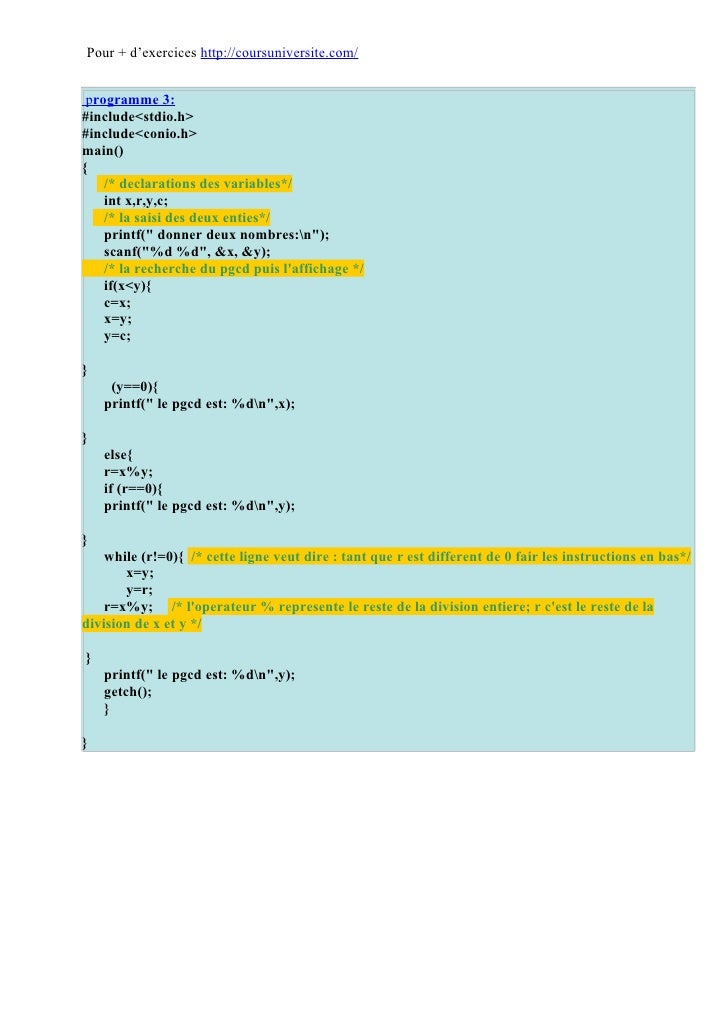 Corrigé langage c Slide 3