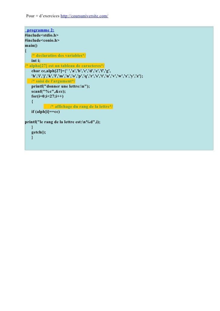 Corrigés exercices langage C Slide 2