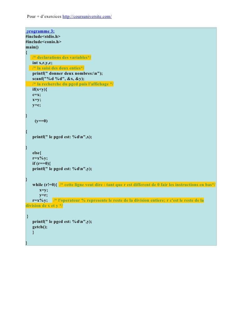 Corrigés exercices langage C Slide 3