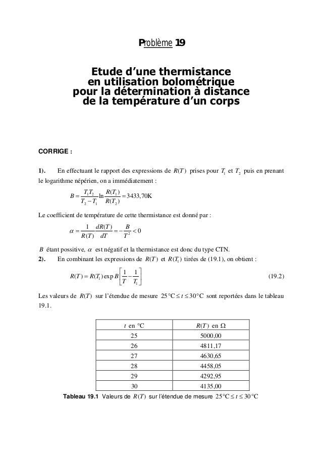 Problème 19  Etude d'une thermistance  en utilisation bolométrique  pour la détermination à distance  de la température d'...