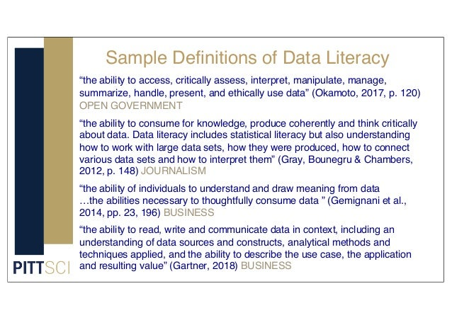"""Sample Definitions of Data Literacy """"the ability to access, critically assess, interpret, manipulate, manage, summarize, h..."""
