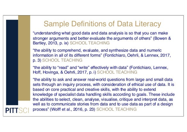 """Sample Definitions of Data Literacy """"understanding what good data and data analysis is so that you can make stronger argum..."""