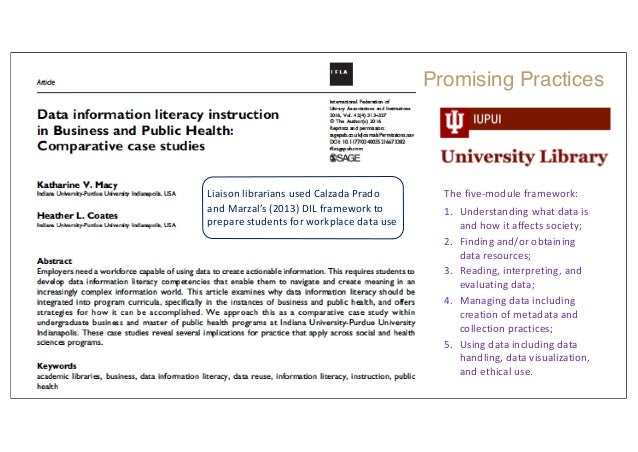 Liaison librarians used Calzada Prado and Marzal's (2013) DIL framework to prepare students for workplace data use The fiv...