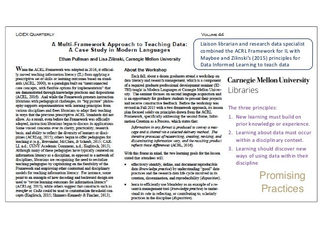 Liaison librarian and research data specialist combined the ACRL Framework for IL with Maybee and Zilinski's (2015) princi...
