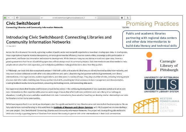 Public and academic libraries partnering with regional data centers and other data intermediaries to build data literacy a...