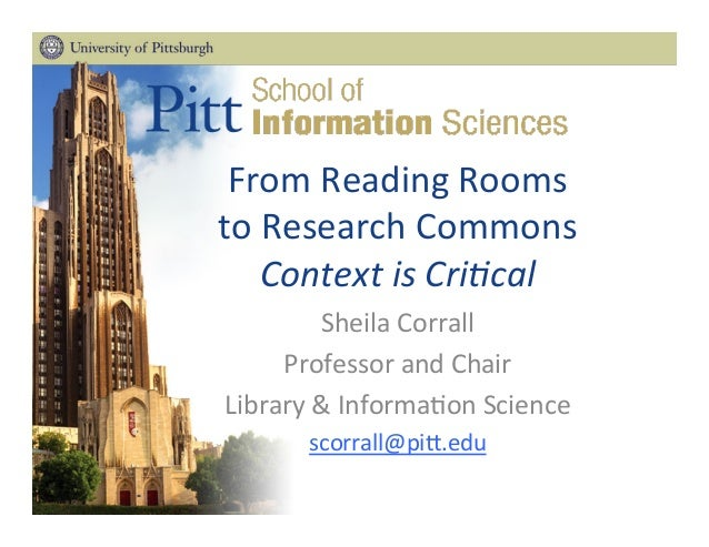From  Reading  Rooms   to  Research  Commons   Context  is  Cri+cal   Sheila  Corrall   Professor  ...