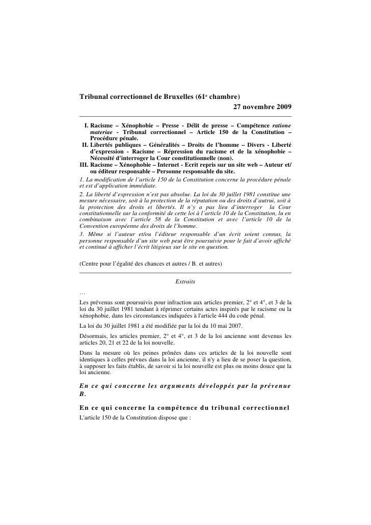 Tribunal correctionnel de Bruxelles (61e chambre)                                                27 novembre 2009    I. Ra...