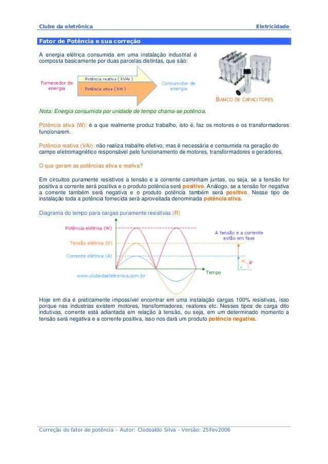 Clube da eletrônica Eletricidade Correção do fator de potência – Autor: Clodoaldo Silva - Versão: 25Fev2006 Fator de Potên...
