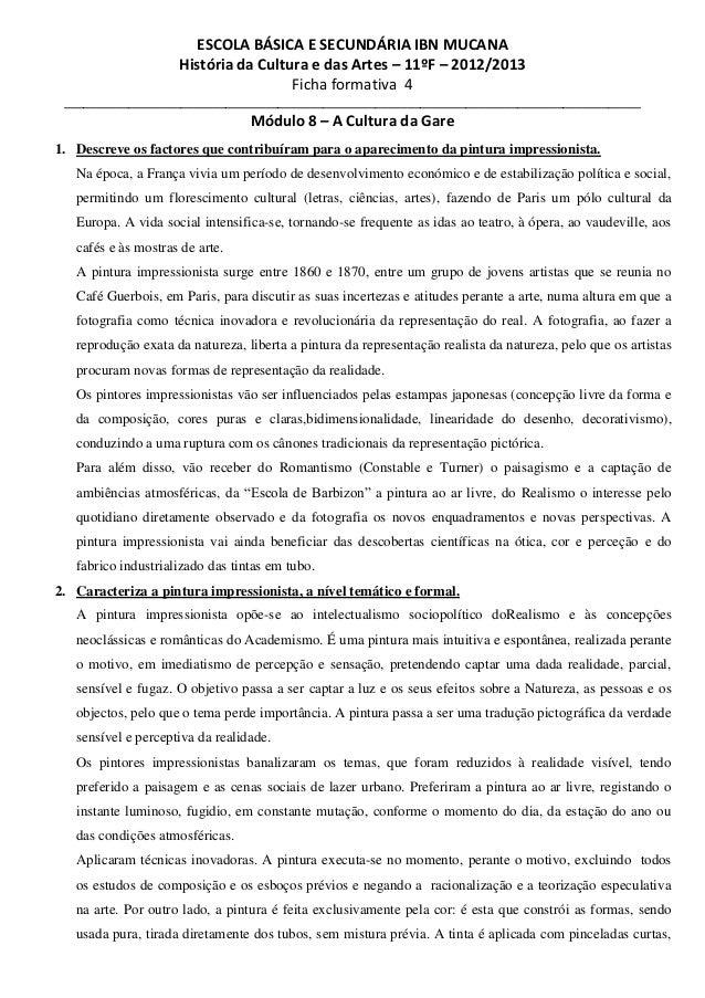 ESCOLA BÁSICA E SECUNDÁRIA IBN MUCANA História da Cultura e das Artes – 11ºF – 2012/2013 Ficha formativa 4 _______________...
