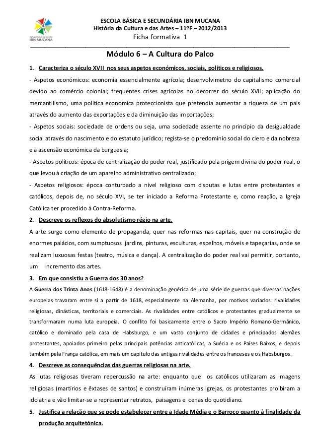 ESCOLA BÁSICA E SECUNDÁRIA IBN MUCANA História da Cultura e das Artes – 11ºF – 2012/2013  Ficha formativa 1  _____________...