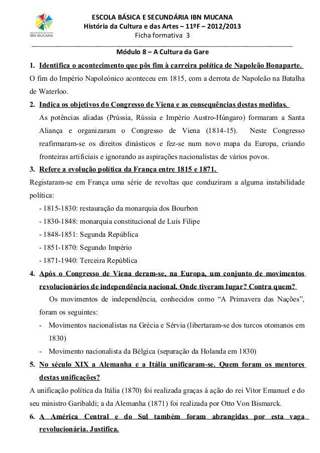 ESCOLA BÁSICA E SECUNDÁRIA IBN MUCANA História da Cultura e das Artes – 11ºF – 2012/2013 Ficha formativa 3  ______________...