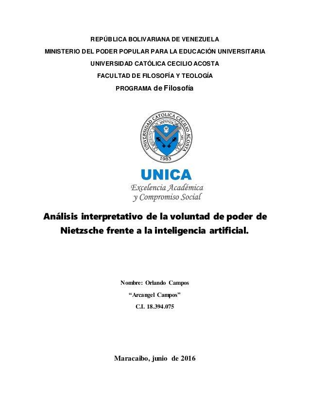 REPÚBLICA BOLIVARIANA DE VENEZUELA MINISTERIO DEL PODER POPULAR PARA LA EDUCACIÓN UNIVERSITARIA UNIVERSIDAD CATÓLICA CECIL...