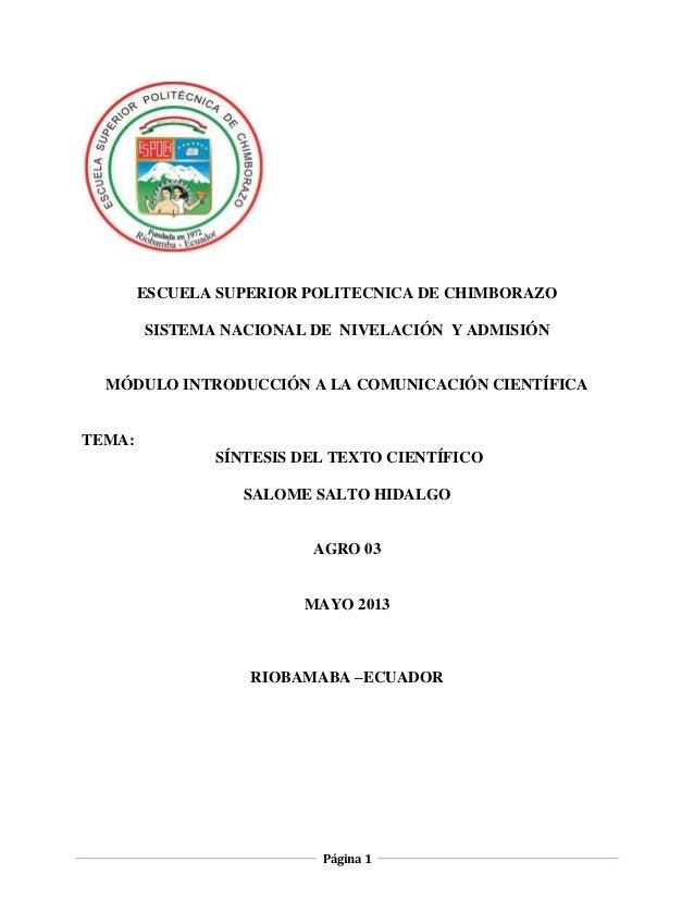 Página 1ESCUELA SUPERIOR POLITECNICA DE CHIMBORAZOSISTEMA NACIONAL DE NIVELACIÓN Y ADMISIÓNMÓDULO INTRODUCCIÓN A LA COMUNI...