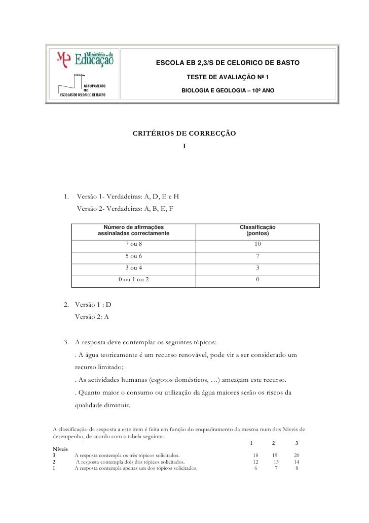 ESCOLA EB 2,3/S DE CELORICO DE BASTOTESTE DE AVALIAÇÃO Nº 1                                       BIOLOGIA E GEOLOGIA – 10...