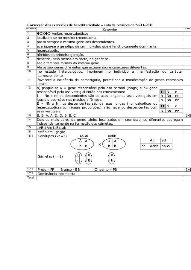 Correcção dos exercícios de hereditariedade – aula de revisões de 26-11-2010 QUESTÕES Respostas COTA 1 X Ambos heterozigót...
