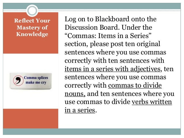 Correct Comma Usage: Items in a Series