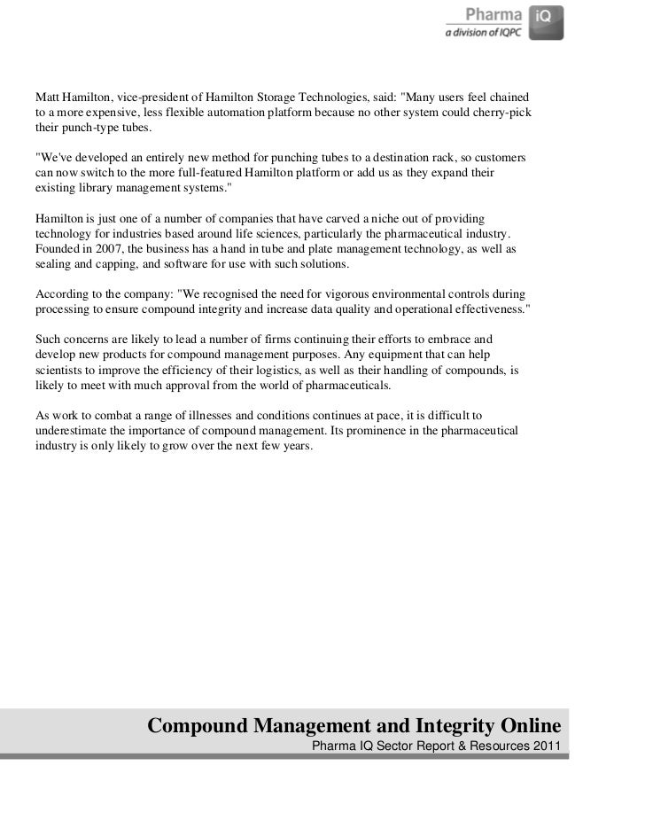 Compound management pharma iq report 2011 4 fandeluxe Gallery